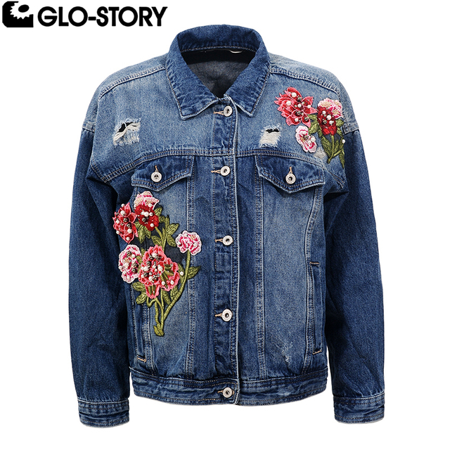 ad22d478644 GLO-STORY Women 2018 New Floral Embroidered Denim Jacket Women Plus Size  Hole Distressed Loose Autumn Jackets Coat WFY-5117