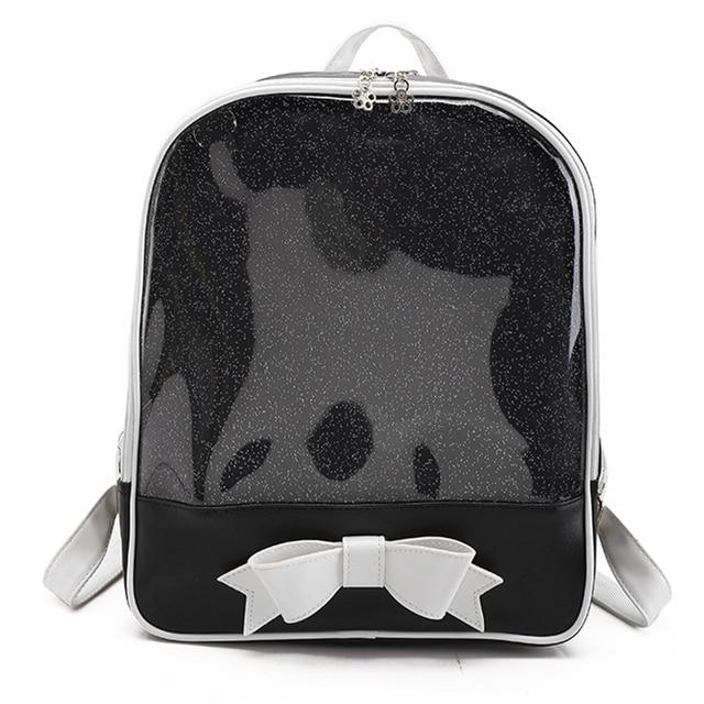 Cute Clear Transparent Bow Backpack Ita Bag Harajuku School Bags For Teenage  Girls Rucksack Kids Kawaii 7b54839214f8