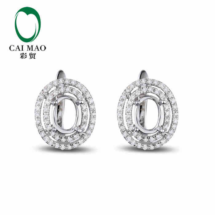 CaiMao Semi Mount Oval cut Settings & 0.42ct Diamond 14k White Gold Gemstone Engagement Fine Jewelry