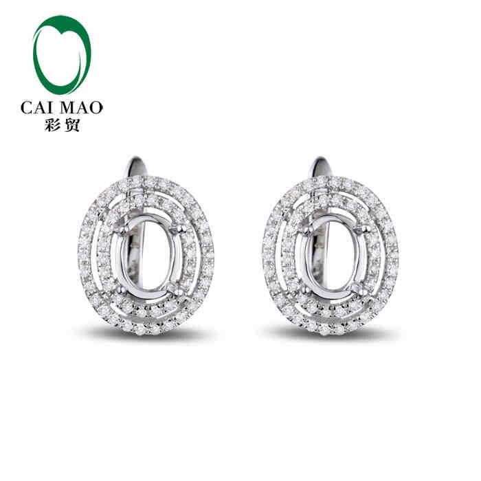 Caimao полу крепление овальным вырезом настройки и 0.42ct Diamond 14 К Белое золото Gemstone Обручение Ювелирные украшения