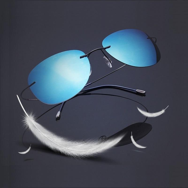 57 18 140 new B ultra light titanium Polaroid polarizing color film rimless Sunglasses Unisex Sunglasses