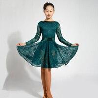 Latin Dance Dress For Girls Long Sleeve Lace Standard Ballroom Dancing Dresses For Kids Performance Wear