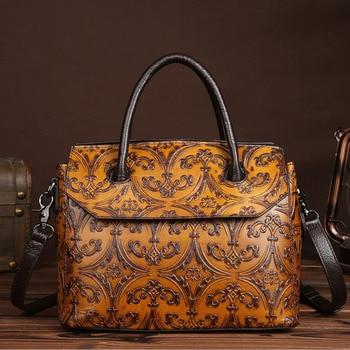 Women Bag Genuine Leather Cross Body  Tote Shoulder Bag Female Classic Embossed Vintage  brand trend Messenger Top Handle Bags
