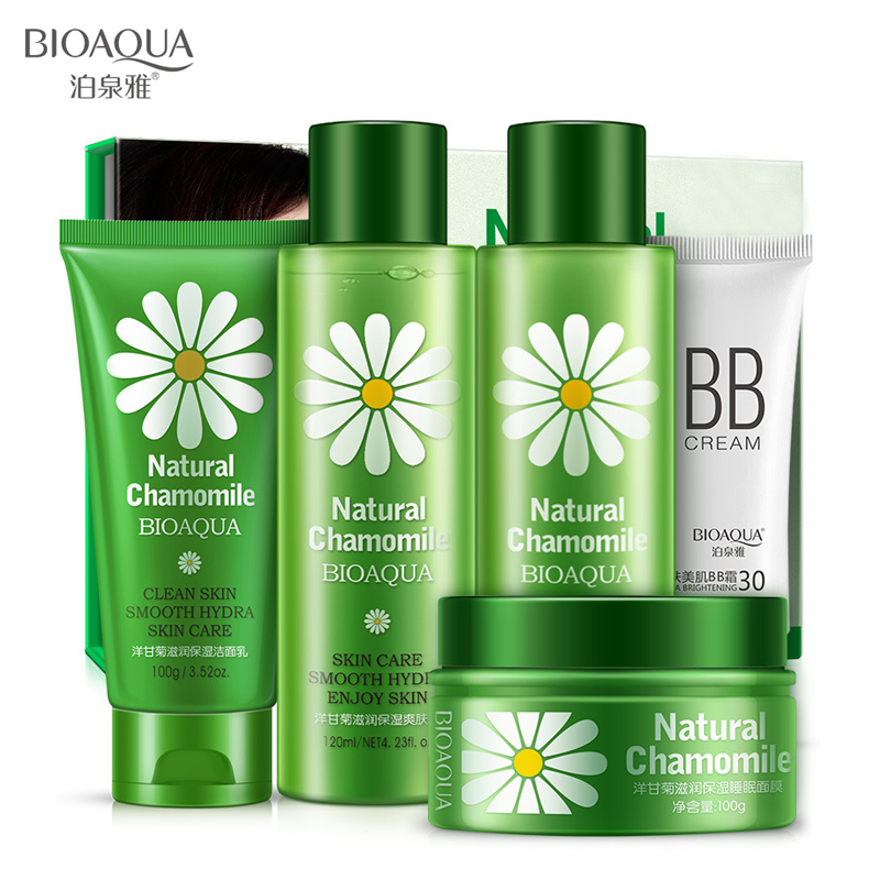 все цены на BIOAQUA Beauty Set Chamomile Face Care Moisturizing Face Cream Anti Acne Facial Cleanser Essence Serum Toner Face Mask BB Cream