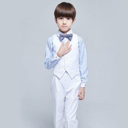 (Vest+shirt+bow tie+pant) New summer clothing sets kids Top boys Flower girl white kids clothes children School uniforms suit