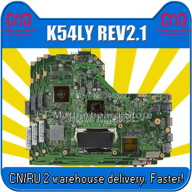 K54LY Motherboard Rev 2.1 HD6470M/HD740M 1G For ASUS X54HR X54HY A54H A54HR Laptop motherboard K54LY Mainboard K54LY Motherboard