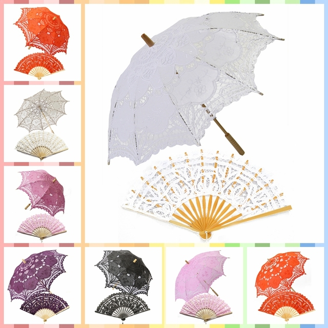 vintage wedding lace parasol umbrellas bridal shower umbrella battenburg lace fan photo booth props