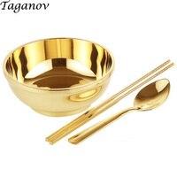 6.5 inch 3 piece set chopsticks bowl spoo n Dinnerware Set copper cutlery gold set porridge rice noodles dinner set china gifts