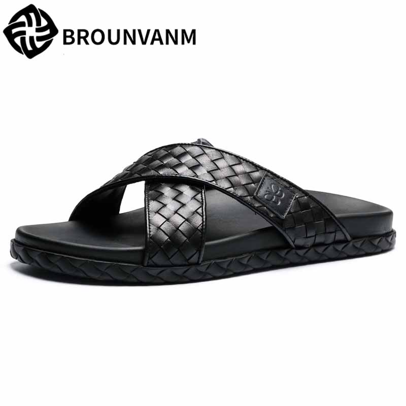 Men's slippers summer fashion men sandals flip-flops outside soft British retro all-match cowhide Genuine Leather casual Shoes