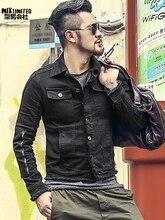 Для мужчин осень тонкий Повседневное черный деним Европейский Стиль модная куртка Mextrosexual Для мужчин одноцветное хип хмель Ретро Верхняя одежда, куртки F313