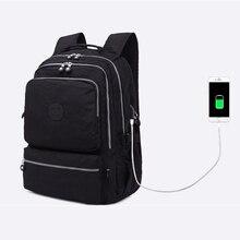 Wanita Kapasitas Besar Tahan Air Nilon USB Pengisian Tas Sekolah untuk  Remaja Gadis Ransel Tas Travel Tas Ransel Trekking 5d480ff4ec