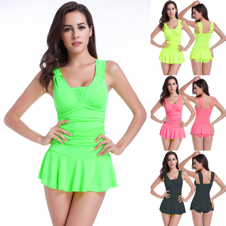 2016 Skirt style one piece swimsuits show thin Gather Concentration sexy Hot beach dress Conservative women