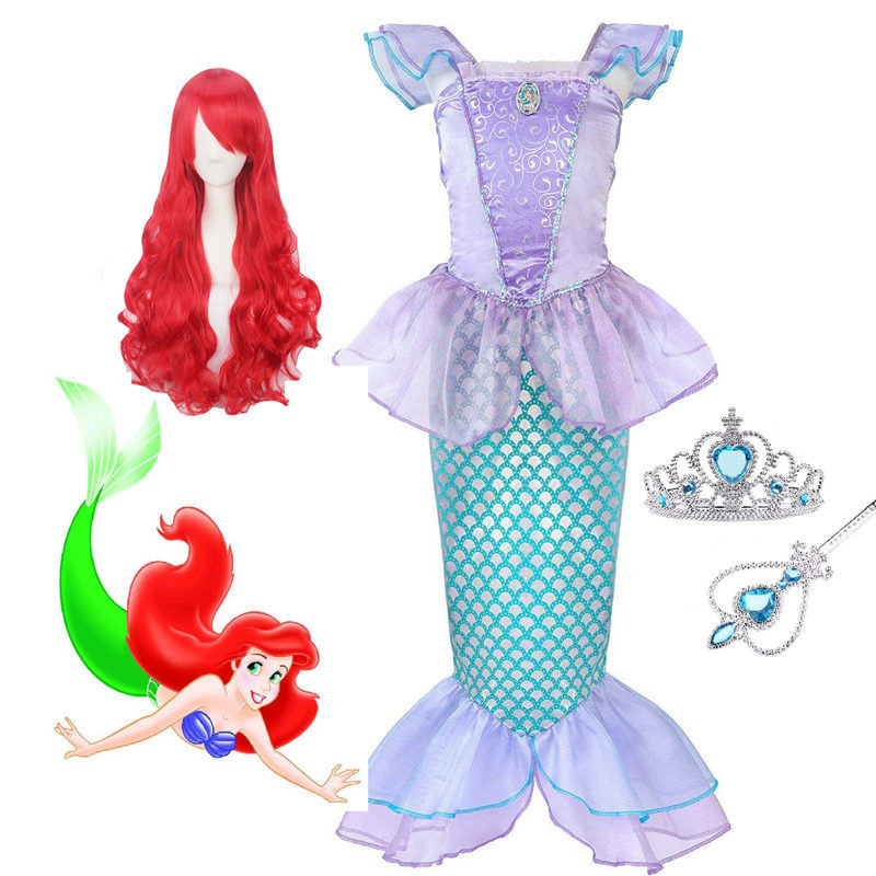 Pearl Diary Children Clothes Little Mermaid Fancy Kid Girls Mermaid Dresses Princess Ariel with Headband Cosplay Halloween the little mermaid princess ariel pink fluffy party fancy dress cosplay costume