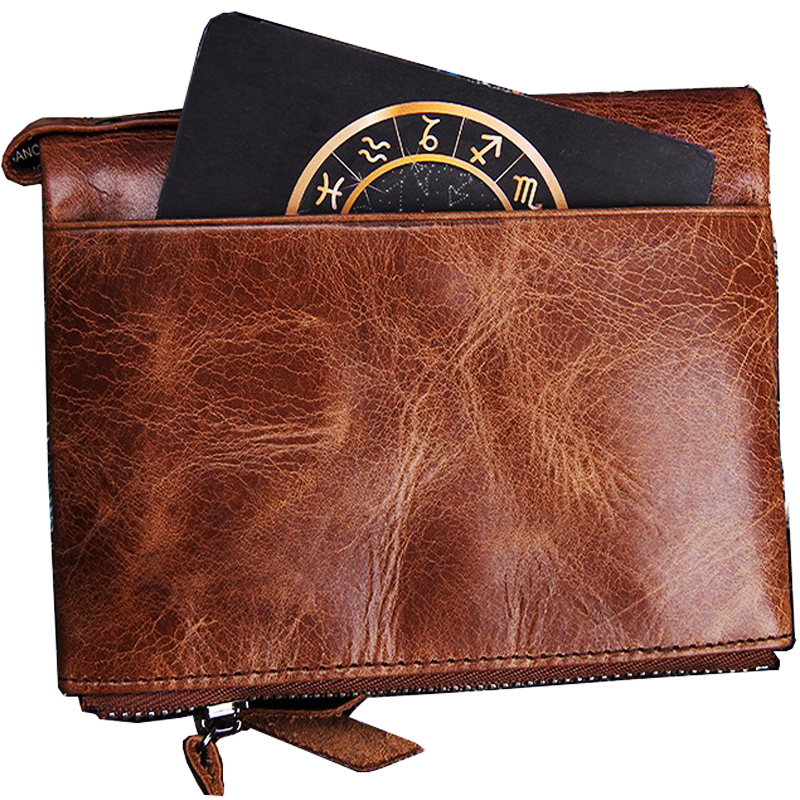 Double Zipper Crazy Horse Cowhide RFID Genuine Leather Men Short Coin Purse Small Vintage Brand High Quality Designer Wallet slymaoyi 2017 genuine crazy horse leather men wallet short coin purse small vintage wallets brand high quality designer carteira