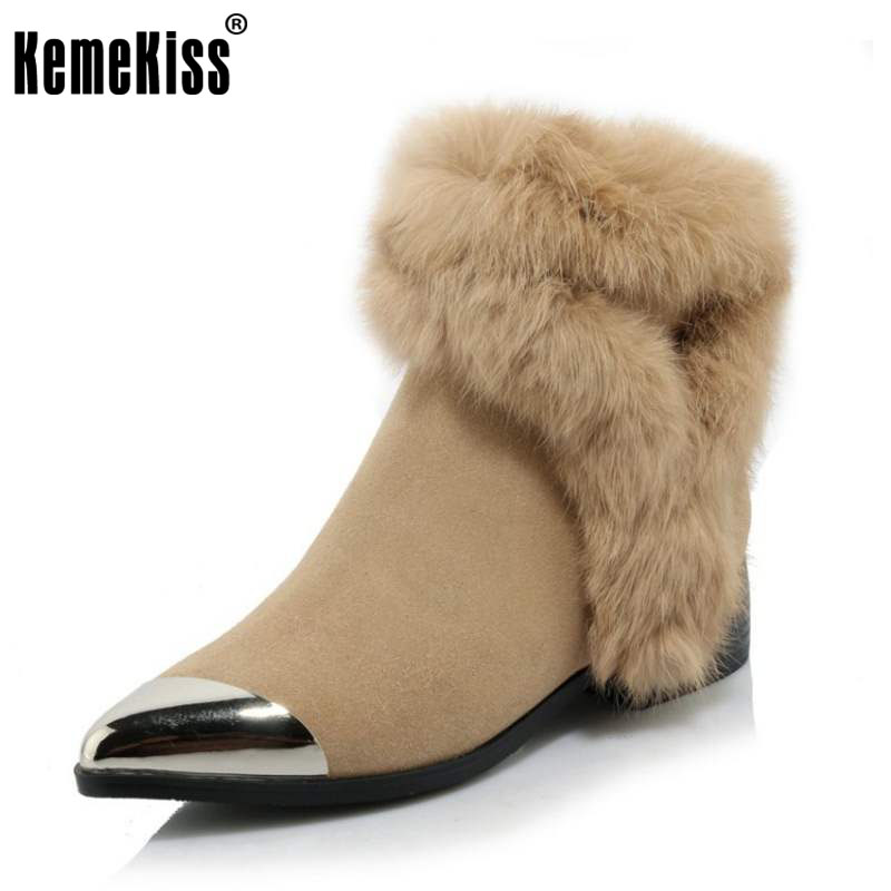 KemeKiss Fashion Winter Shoes Women Real Leather Thick Fur Booties For Women Metal Pointed Toe Boots Women Warm Botas Size 34-39