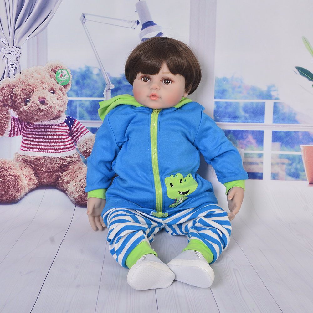 2019 Cute 24 Inch 60 cm Boneca Reborn Toy Soft Silicone Newborn Doll For Boy Realistic Cloth Body Kids Christmas Gifts2019 Cute 24 Inch 60 cm Boneca Reborn Toy Soft Silicone Newborn Doll For Boy Realistic Cloth Body Kids Christmas Gifts