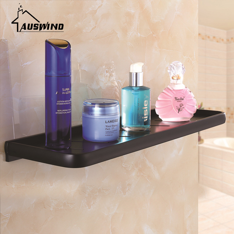 Black Space Aluminum Bath Single Shelf Deck Tray, Bathroom, Hotel Storage Rack, Cosmetics Rack Corner Shelf Shower Shelf
