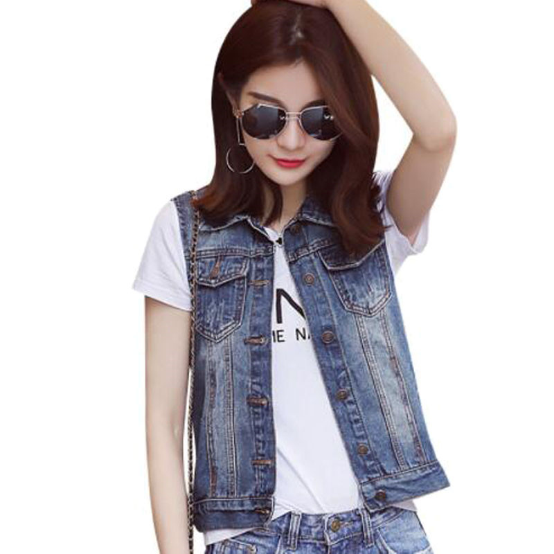 Plus Size S-5XL 2017 New Summer Jacket Sleeveless Casual Slim Jeans Vest Vintage Fashion Short Paragraph Denim Vest Women ZY3340