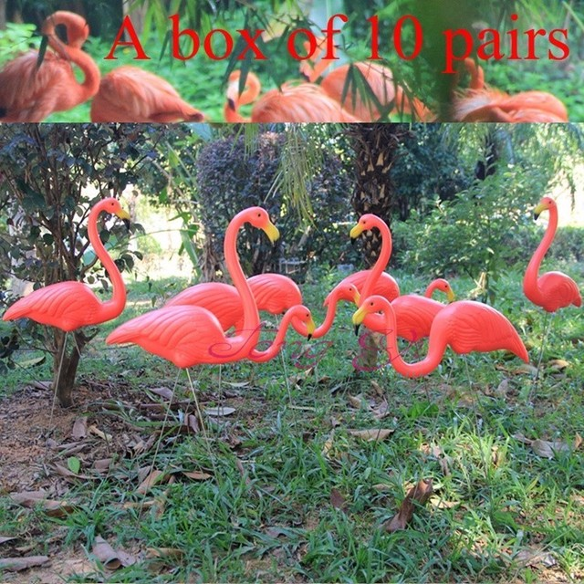 10 Pairs Red Plastic Flamingo Jardin Lawn Wedding Decoration Garden  Ornaments Handicraft Landscape Statue Decorative