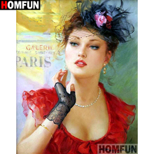 HOMFUN Full SquareRound Drill 5D DIY Diamond Painting Oil painting beauty Embroidery Cross Stitch 5D Home Decor A09345