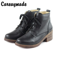 Careaymade-Genuine leather Plushed Warm Cotton Shoe Head Layer Leather Thick-heeled Retro-Martin Literary boots