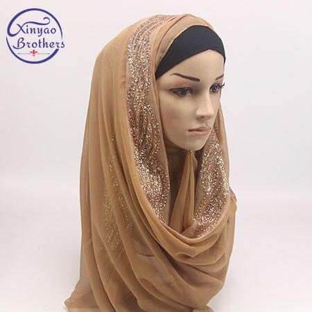 2018  Pear Bubble Chiffon Muslim Hijab Scarf Golden Fringe Embroidery Floral Caps Shawl Head  Wrap Foulard Plain Solid Colour