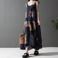 Summer Dress 2016 Women Vintage Linen Dress Pluse Size Maxi Dresses With Sleeveless Print Party Loose Dresses Robe Longue Femme