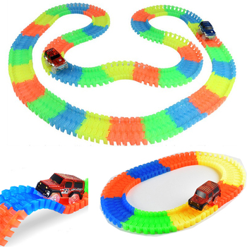 Miraculous Glowing Race Track Bend Flex Glow in the Dark Assembly Car Toy 60/100/150/165/220/240pcs Glow Racing Track Set image