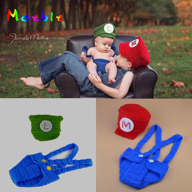 Mario and Louis Baby Boys Photography Props Crochet Mario Bros photo prop Newborn Photo Outfits Cartoon Costume MZS-16070