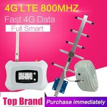 Europa 4g lte 800mhz faixa 20 sinal de telefone celular 4g fdd lte alc 70db ganho amplificador celular impulsionador repetidor 4g antena