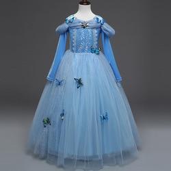new halloween Queen Elsa Dresses Costumes cosplay Princess Elsa Dress for Girls Party Kids Girls Clothing Set