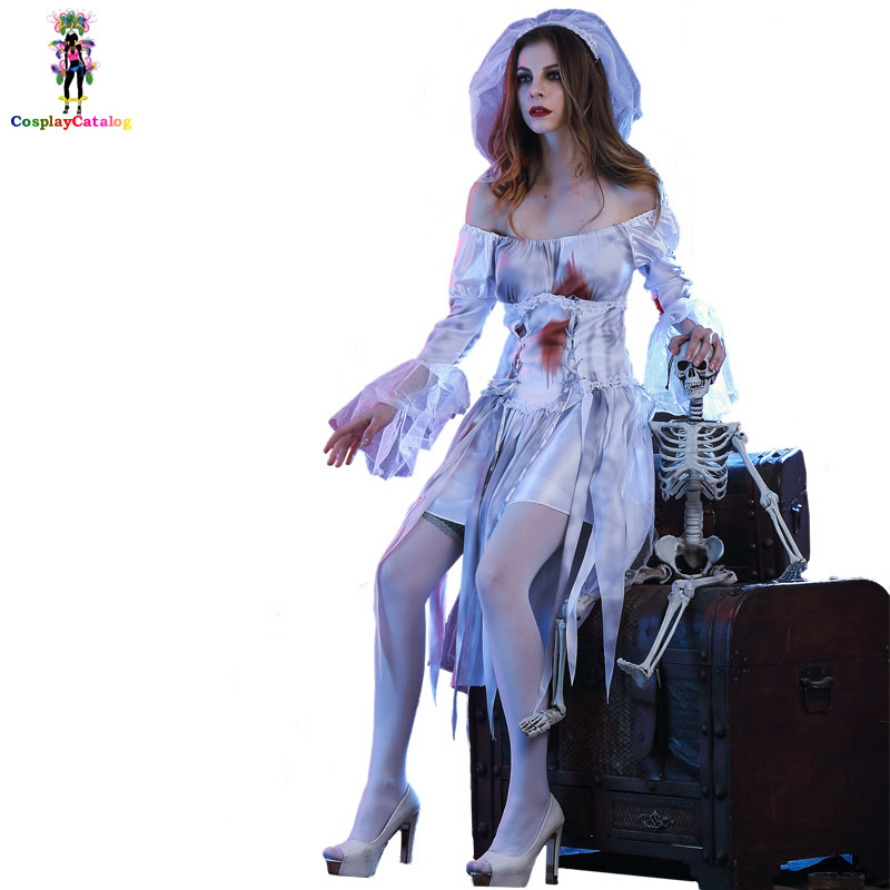Blood Stain Scary Women Cosplay Ghost Bride Costume Adult Haunting Skeleton Ghostly Bride of Doom Halloween Costumes Size MLXL