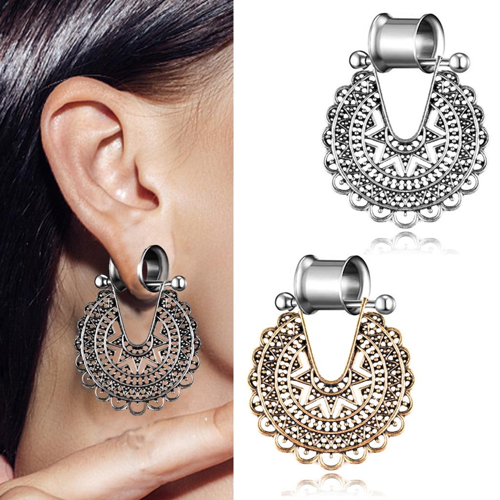 Covet Jewelry Nova Star Hollow Steel Double Flared Ear Gauge Plug