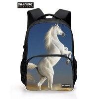 Большая детская животное лошадь школьная сумка для подростка Обувь для мальчиков Обувь для девочек cool Dog Лев Школьный для детей модные Для мужчин Путешествия backbag
