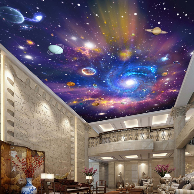 custom 3d photo wallpaper star universe galaxy room suspended ceiling wall painting living room. Black Bedroom Furniture Sets. Home Design Ideas