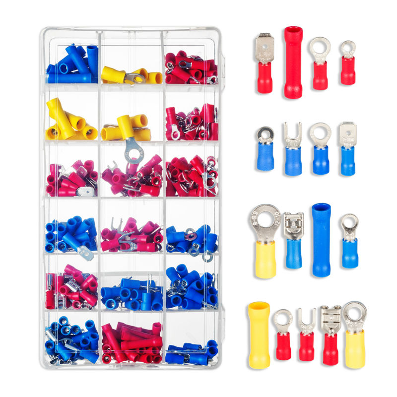 280pcs Assorted Female/ Male Insulated Terminals Fork U-type Assortment Kit Electrical Crimp Connector Spade Ring Set 1000pcs electrical wire connector insulated crimp terminals kit spade assorted set fork ring assorted set with box