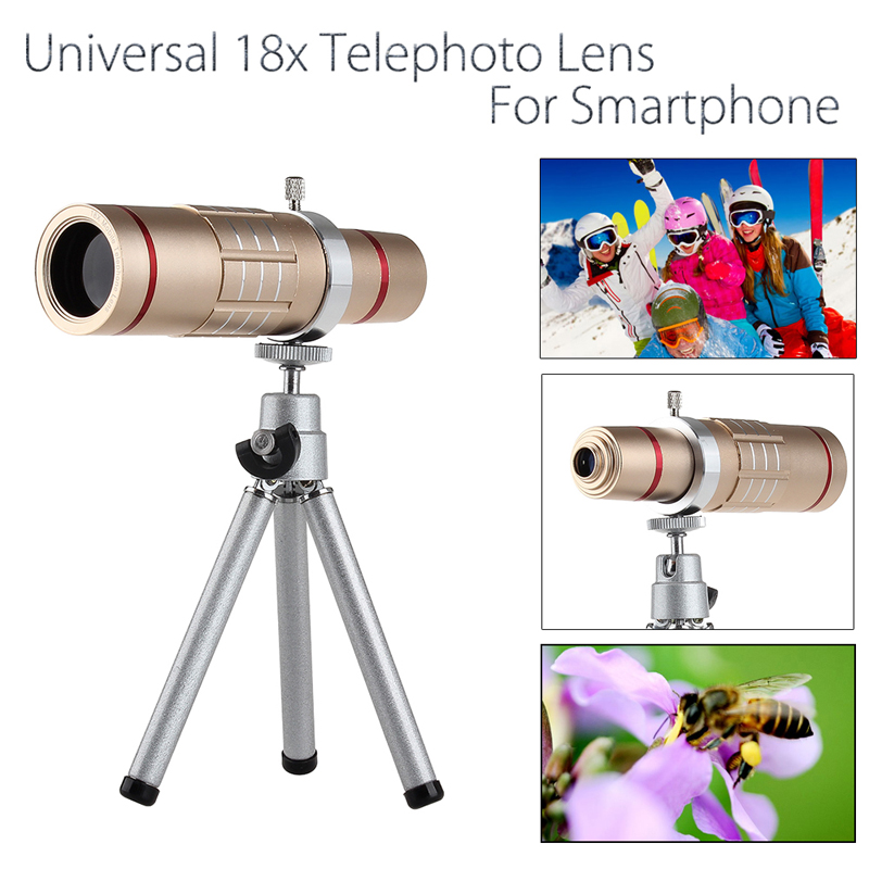 Universal 18x zoom lens Magnification Optical Camera Telephoto Lens Telescope With mini Tripod For Iphone Smartphone Gold 9