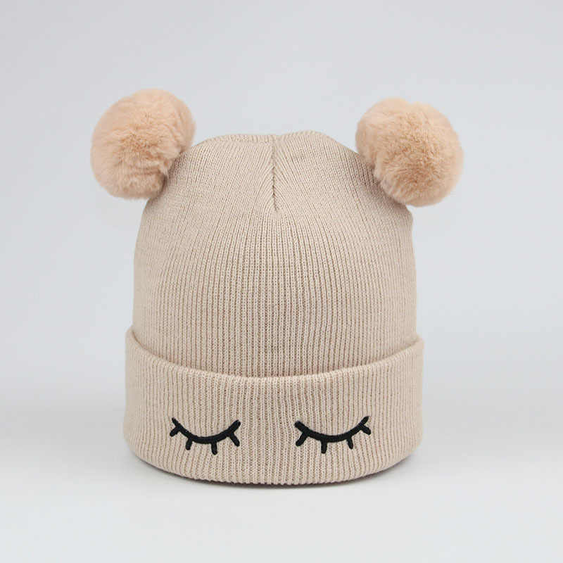 d8ed1277f7a93f Detail Feedback Questions about New Autumn baby boy and girl knit hat  winter warm cap children Pom Poms Ball beanies kids Cute Eyelash embroidery  Cap H12 on ...