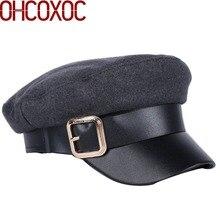 Nuevo diseño azul marino estilo militar sombrero para las mujeres de lana de  imitación caliente gruesa mujer octogonal sombreros. 14c8c4a3226
