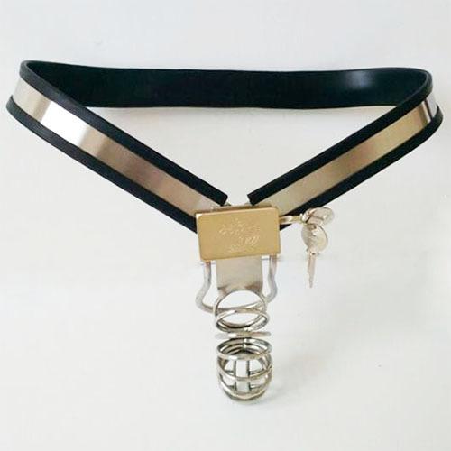 Acero inoxidable Masculina Cinturón de Castidad con Pene Dispositivos de Bloqueo Totalmente Ajustable de Tipo Y Pantalones de Castidad Cinturón de castidad Juguetes Sexuales