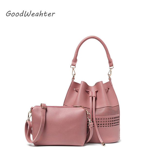 Designer hollow out women pink handbag with purse fahion pink drawstring bucket bag high quality PU leather shoulder bags 5color