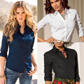 Women Tops Fashion Full Sleeve Slim Fit Shirts Vintage Solid Rose Red Sexy Blouse Office Ladies Clothes Undershirts Black