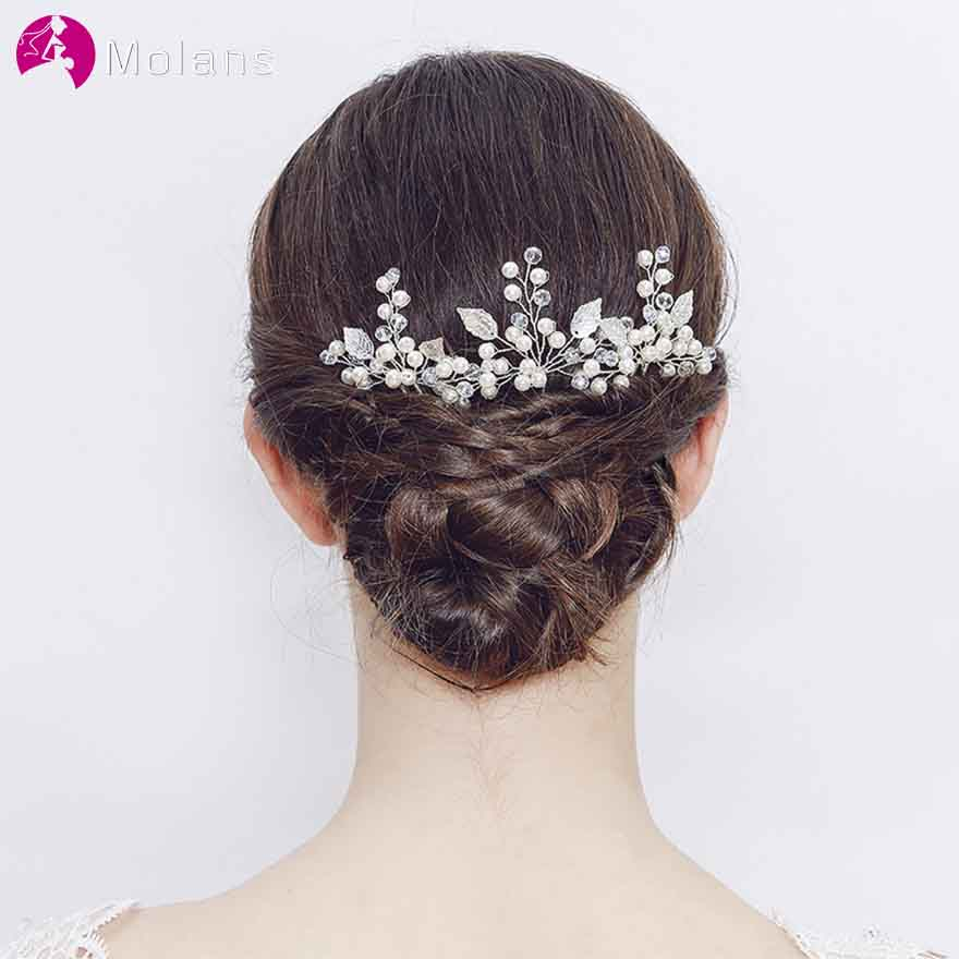 MOLANS Exquisite Manual Alloy Leaf Pearls Hairpins for Bridal Hair Accessories One Pair Twisted Beading Hair Clips for Wedding