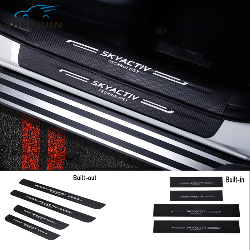 Car styling PU leather Carbon fiber Door Sill Scuff Plate Car Accessories For mazda CX 5