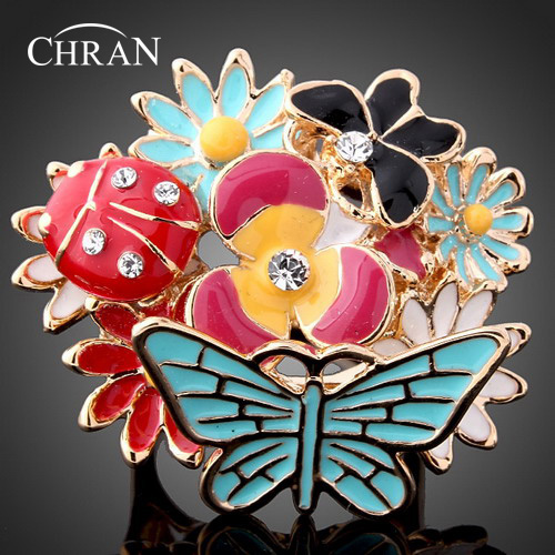 CHRAN Fashion Gold Color Enamel Flower Women Rings Jewelry Promotion Vintage Animal Design Butterfly Ladybug Promised Rings