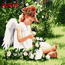 Little Angel Girl Painting By Numbers On Canvas Coloring Cuadros Decoracion Drawing Wall Picture For Living Room Gift