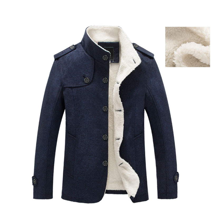 Image 4 - Mountainskin Winter Men's Coat Fleece Lined Thick Warm Woolen Coats Autumn Overcoat Male Wool Blend Jackets Brand Clothing SA607-in Wool & Blends from Men's Clothing