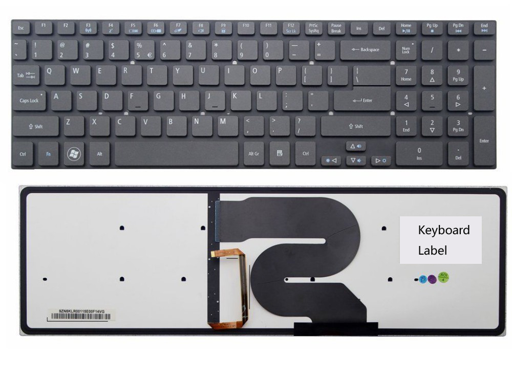 New notebook laptop keyboard for   Acer Aspire 5951 5951G 8951 8951G  with Backlit US layout laptop keyboard for acer silver without frame bulgaria bu v 121646ck2 bg aezqs100110