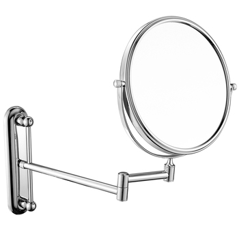 GURUN Hotel Bath Wall Mount Foldable Extended Chrome Makeup Mirror 5X/7X/10X Magnification, Adjustable Height, Swivel Mirrors