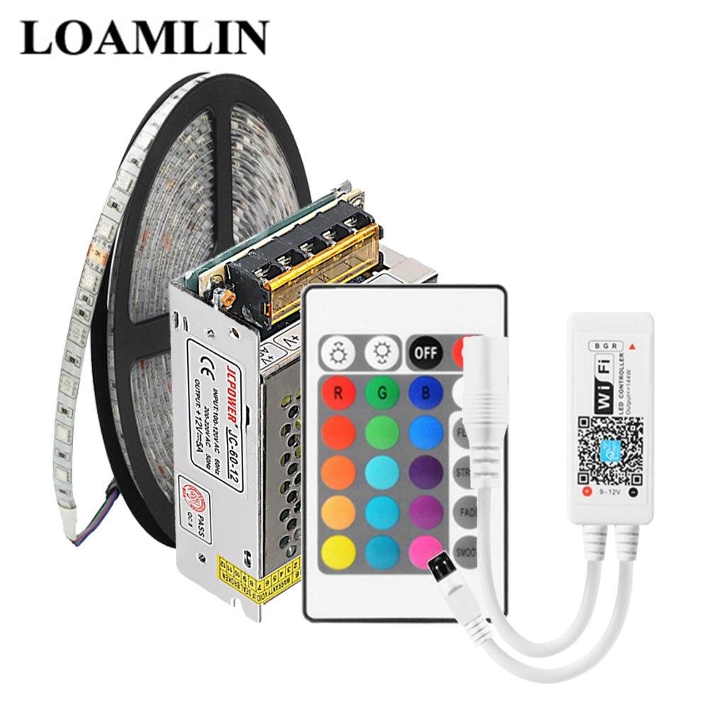 5m 5050 60 Leds/m RGB LED tira impermeable o no impermeable wifi en casa RGB LED controlador 12V 5A LED kit con fuente de alimentación Tira LED RGB 5050 resistente al agua DC 12V 5M RGBW RGBWW tiras de luz LED Flexible con 3A de potencia y Control remoto